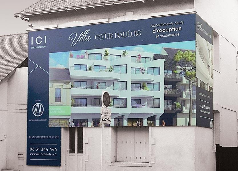 Panneau chantier façade extérieur en pvc villa coeur baulois