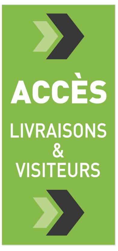 Panneau d'accés pour visiteurs et livraisons