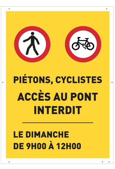 Panneau de sécurité pour piétons et cyclistes