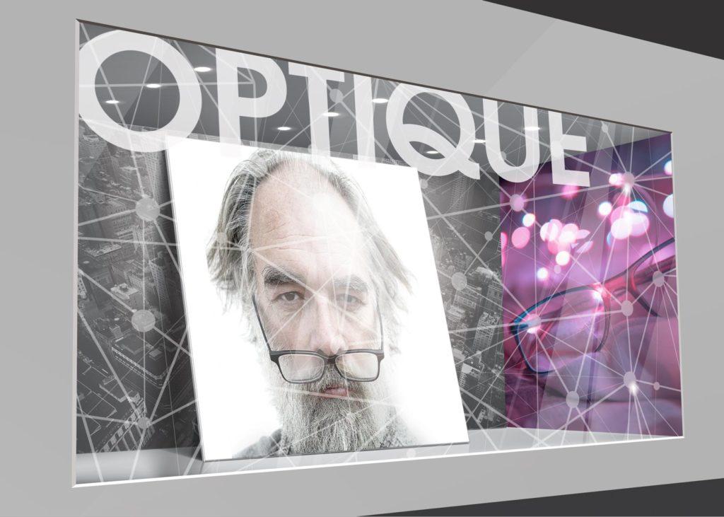 vitrophanie décorative pour une enseigne d'optique